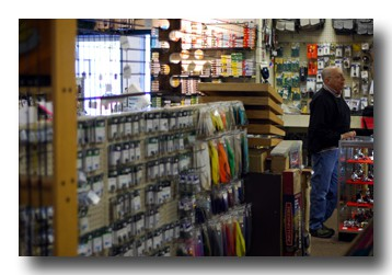 Goldstock's Sporting Goods surprises people with their amount of flyfishing gear.