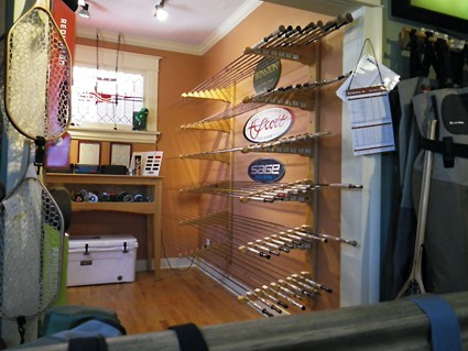 Upstairs of Trout's Fly Fishing is where you'll find rods and reels.
