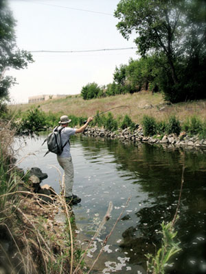 TIM ROMANO WITH A FISH ON IN SAND CREEK AT GROUND ZERO IN JULY 2011