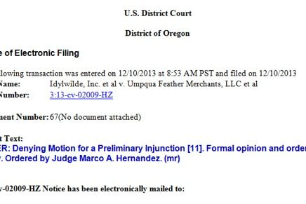 Injunction Idywilde Umpqua copy
