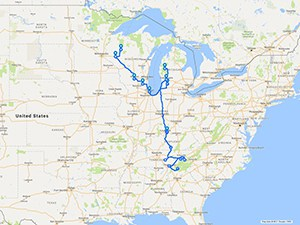 Clyde's travel route.