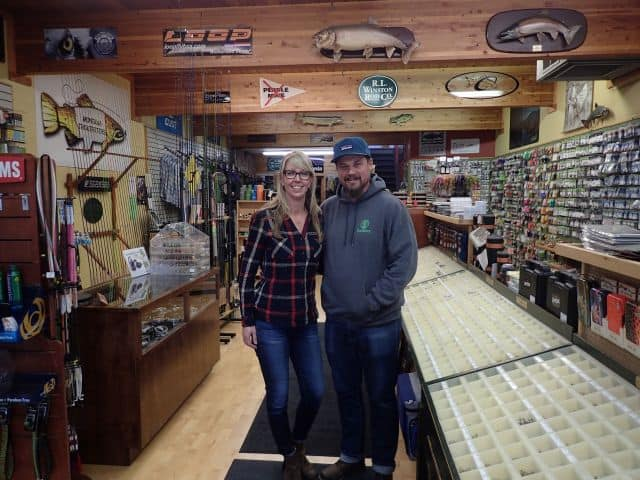 Justin and Lisa King keep the fly shop running.