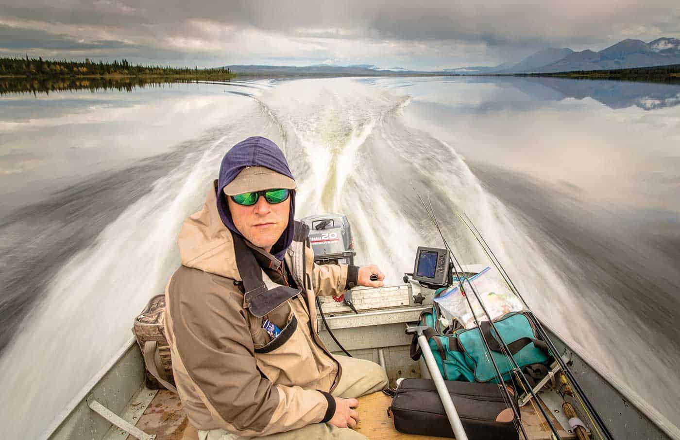 head guide and pike ninja Ken richardson, motorboating us across McEvoy lake.
