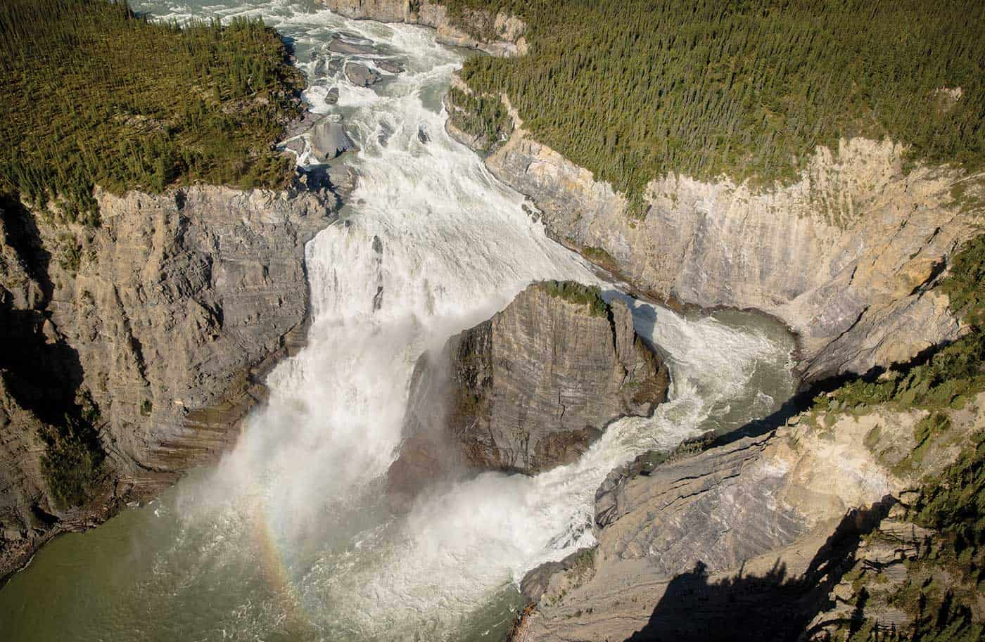 massive virginia falls, on the south nahanni river