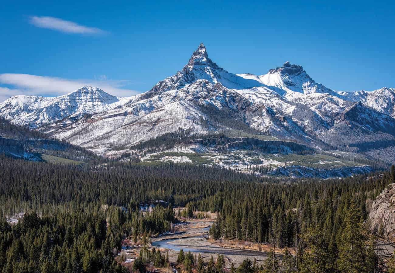 PILOT PEAK (ABOVE) WATCHES OVER THE CLARKS FORK OF THE YELLOWSTONE RIVER.