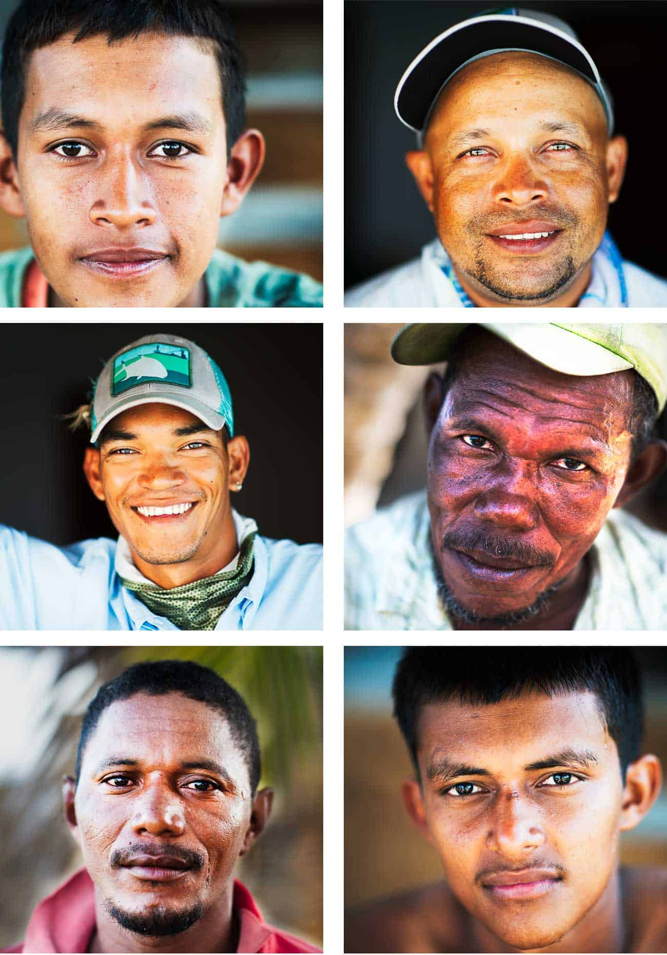 clockwise, from upper left: a 15-year-old trap-boat fisherman; rankin Jackson, guide; a moskito elder; a young trap-boat fisherman; a moskito Indian; Edwin moses, guide.