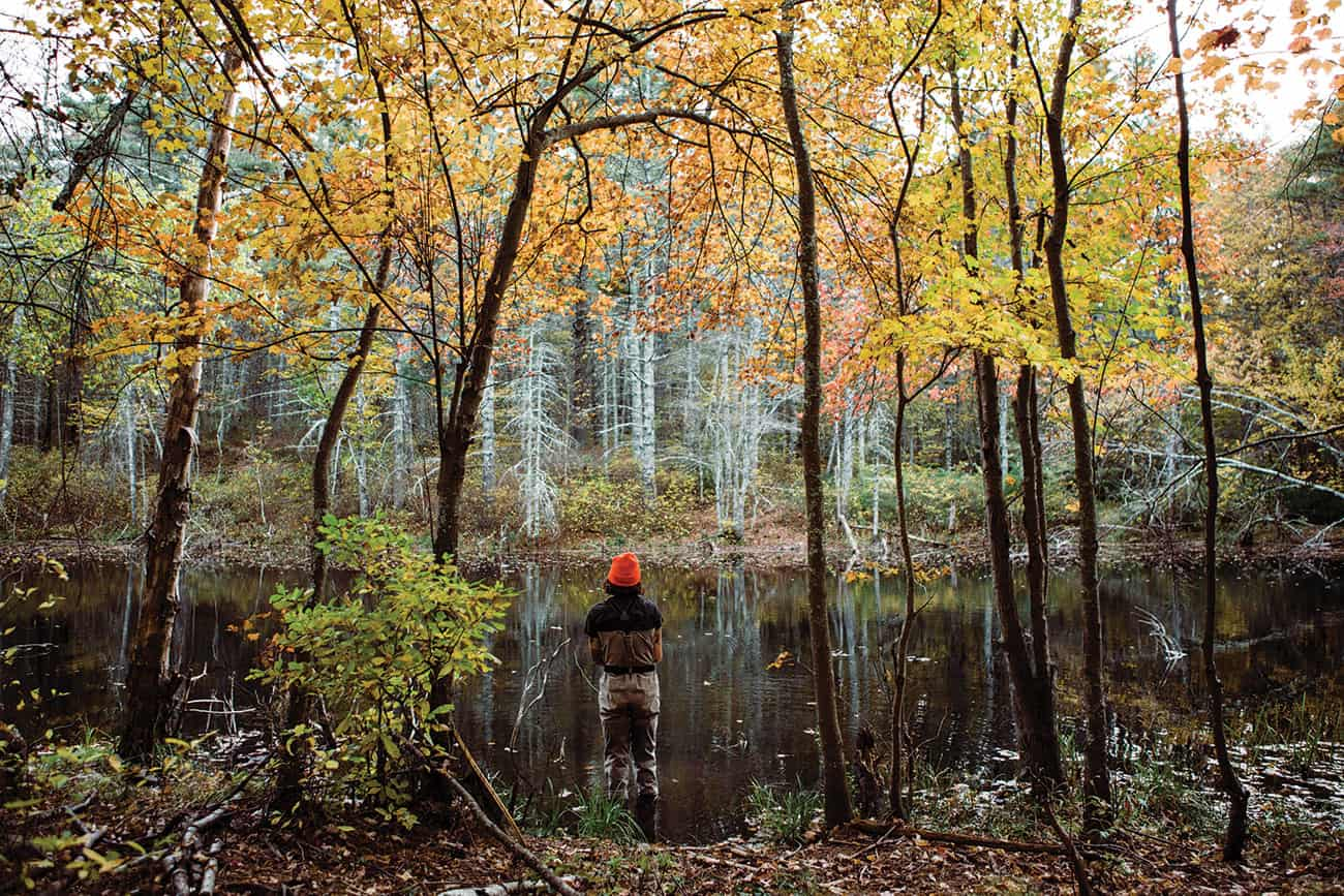 AIMEE, TAKING IN SOME BROOKIE WATER AND FALL COLORS IN RHODE ISLAND.